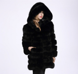 Hoodie Plush Faux Fur Coat Women Black