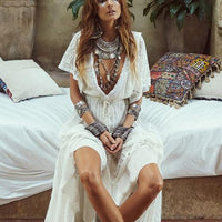 White bohemian beach dress
