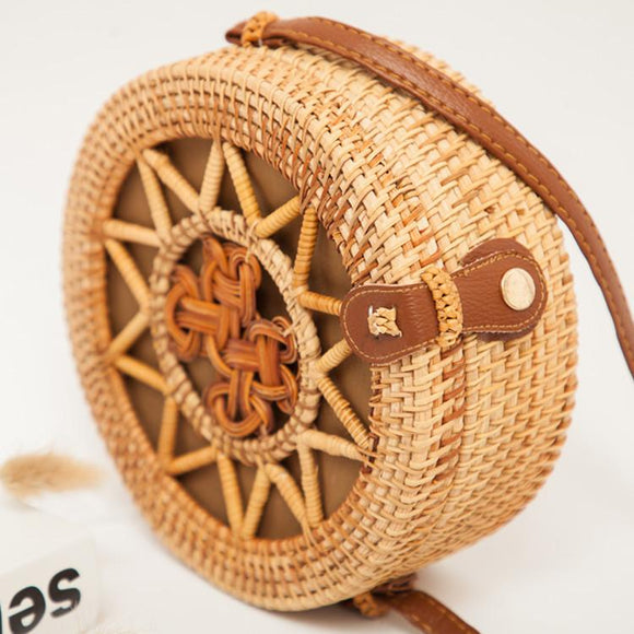 Rattan Bag Round Straw Shoulder Beach HandBag - Sunshine Store