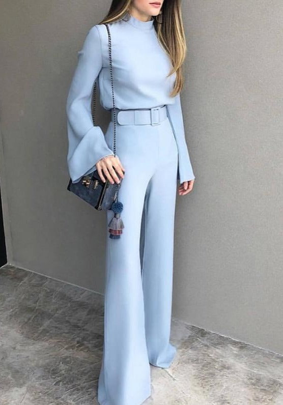 Spring Women Fashion Elegant Office Casual Jumpsuits High Neck Bell - Sunshine Store