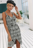 Women High Waist Split Sash Short Dress