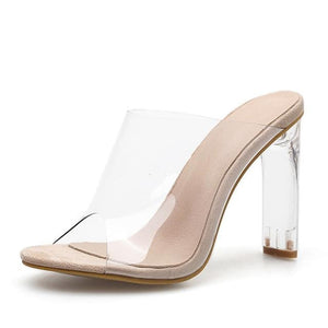 Crystal Square Transparent High Heels Slippers Sandals Pumps - Sunshine Store