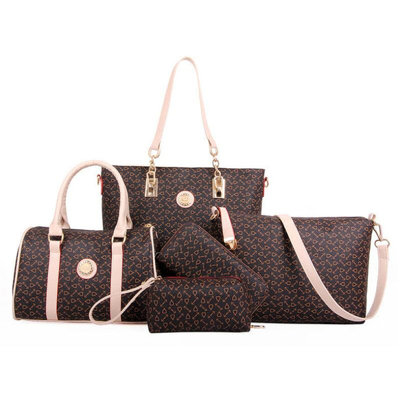 6 PCS Set Bag Women Handbag With Shoulder Bag/Totes/Clutch/Key Holder - Sunshine Store