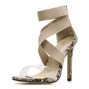 Open Toe Stiletto High Heels With Anaconda Pattern - Sunshine Store