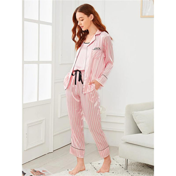 Pink pajama set women
