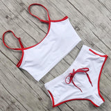 Designer summer bikini white with red stripe