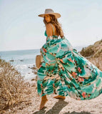Ocean floral long beach dress