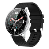 silver color casing black silicon band smartwatch