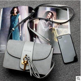 designer leather purse grey