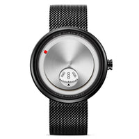 Black Stainless Steel Wrist Watch Futuristic