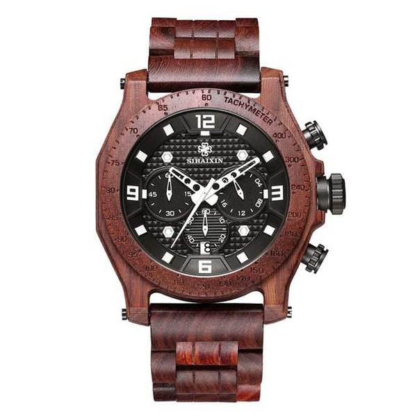 Wooden chronograph watch
