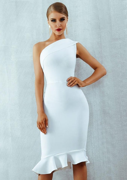 white designer women dress