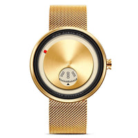 Golden Stainless Steel Innovative Wristwatch
