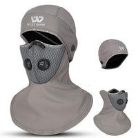 Winter Cycling Face Cover With Activated Charcoal Mask In Gray