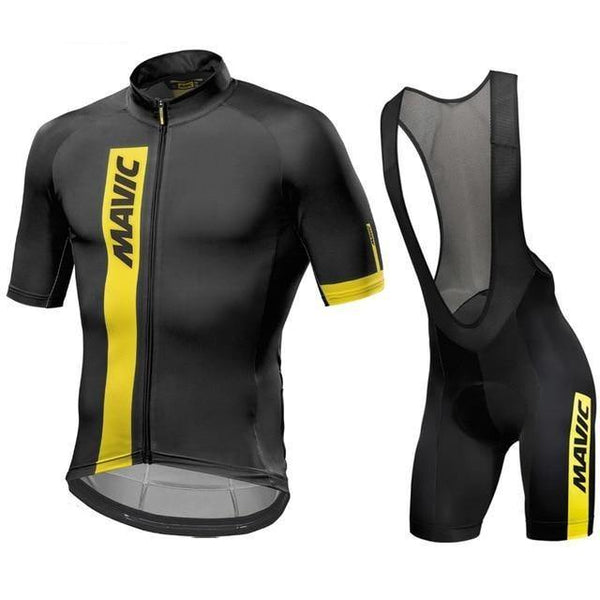 Black an yellow stripes cycling jersey suit with shoulder strapped shorts