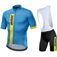 Blue top black trouser with white shoulder strap MTB cycling jersey