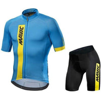 Light blue top and black short cycling jersey set