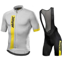 White top black short with shoulder straps cycling jersey set