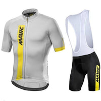 White top and black short with white shoulder straps for summer cycling jersey set