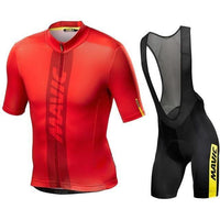 Red top and black short with shoulder straps cycling jersey