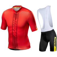 Red top Black short MTB cycling jersey suit with shoulder straps for the bottom part