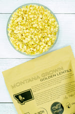 Load image into Gallery viewer, Montana Grown Golden Lentils • 4 lbs Resealable Kraft Bag