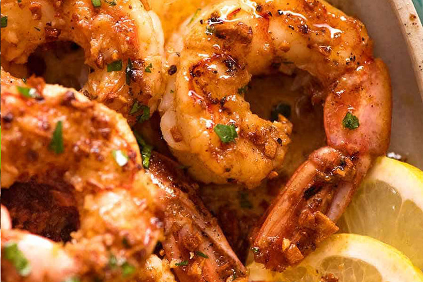 Grilled Prawns, served with Chips and saute vegetable