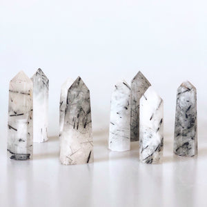 All-In-One Tourmalinated Quartz Points Crystal