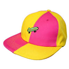 Split Pink and Yellow Skateboard hat