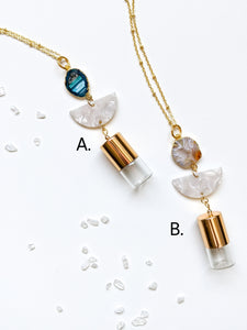 LIMITED EDITION | PEARL + Geode Roller Bottle Necklace