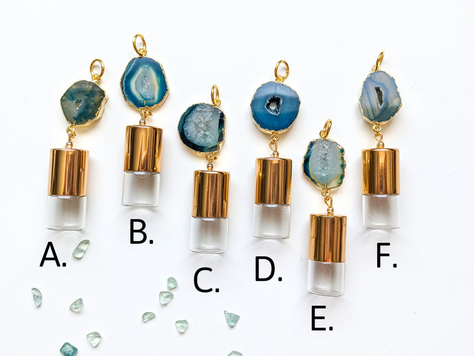 BLUES | DAINTY GEODE Roller Bottle Necklace