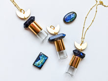 Load image into Gallery viewer, Labradorite + Moon Roller Bottle Necklace