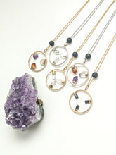 Load image into Gallery viewer, MEDIUM TRIPLE GEMSTONE HALO + LAVA DIFFUSER NECKLACE