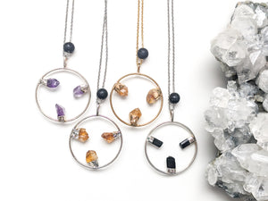 LARGE TRIPLE GEMSTONE HALO + LAVA DIFFUSER NECKLACE
