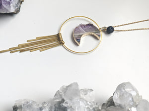 Amethyst Moon + Fringe Diffuser Necklace