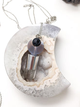 Load image into Gallery viewer, READY TO SHIP | GEMSTONE CARVED MOON + LAVA ROLLER BOTTLE NECKLACE