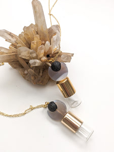 READY TO SHIP | GEMSTONE CARVED MOON + LAVA ROLLER BOTTLE NECKLACE