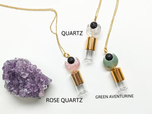 READY TO SHIP | FACETED GEMSTONE CARVED MOON + LAVA ROLLER BOTTLE NECKLACE