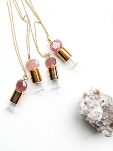 READY TO SHIP | Faceted Strawberry Quartz Roller Bottle Necklace