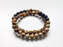 Load image into Gallery viewer, PICTURE JASPER + LAVA | Mens Diffuser Bracelet