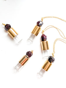 READY TO SHIP | FACETED GARNET Roller Bottle Necklace