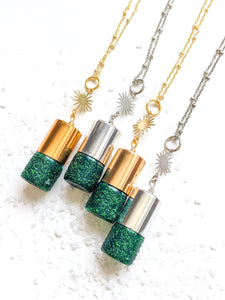 LUKAS + LEXX // AQUA + GREEN HOLIDAY COLLECTION | GLITTER ROLLER BOTTLE NECKLACE