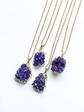 Load image into Gallery viewer, Mid Length Amethyst Cluster Diffuser Necklace