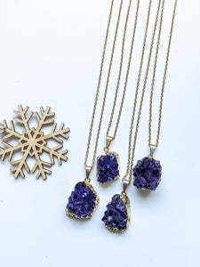 Mid Length Amethyst Cluster Diffuser Necklace