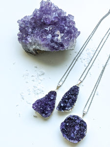 Amethyst Cluster Diffuser Necklace