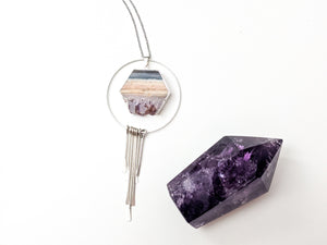 Hexagon Amethyst Slice + Fringe Diffuser Necklace
