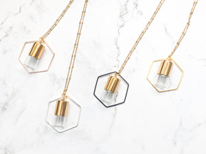 MIXED METAL COLLECTION | HEXAGON Roller Bottle Necklace