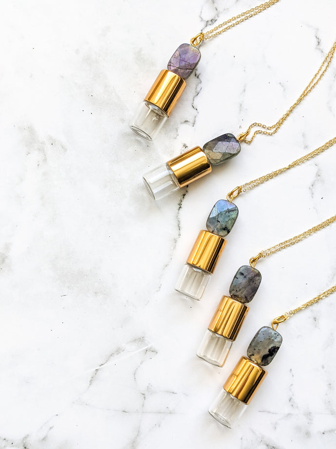 READY TO SHIP | LABRADORITE ROLLER BOTTLE NECKLACE