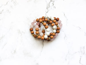 ROSE QUARTZ + HOWLITE 4X DIFFUSER BRACELET WRAP / NECKLACE