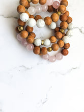 Load image into Gallery viewer, ROSE QUARTZ + HOWLITE 4X DIFFUSER BRACELET WRAP / NECKLACE